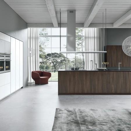 AK_02 Su esencialidad y limpieza formal es lo que caracteriza a esta cocina. Sistema con una amplia modularidad, disponible con tirador o con gola; incluye ocho acabados, cinco son madera y tres son laminado mate.